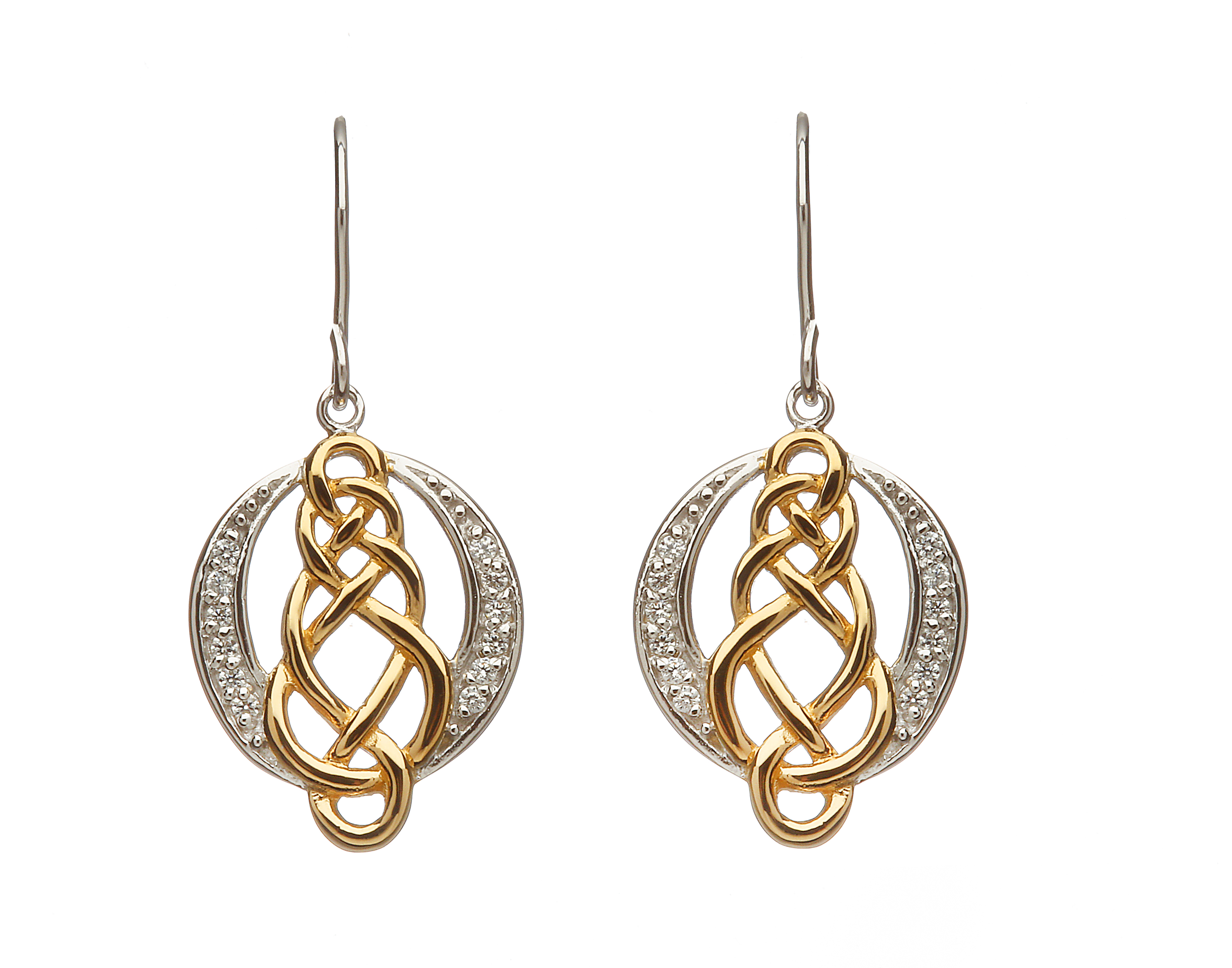 ad6e2d1b4 Sterling silver Celtic design lever back earrings with cubic zirconia and yellow  gold accents - Celtic Designs Jewelry