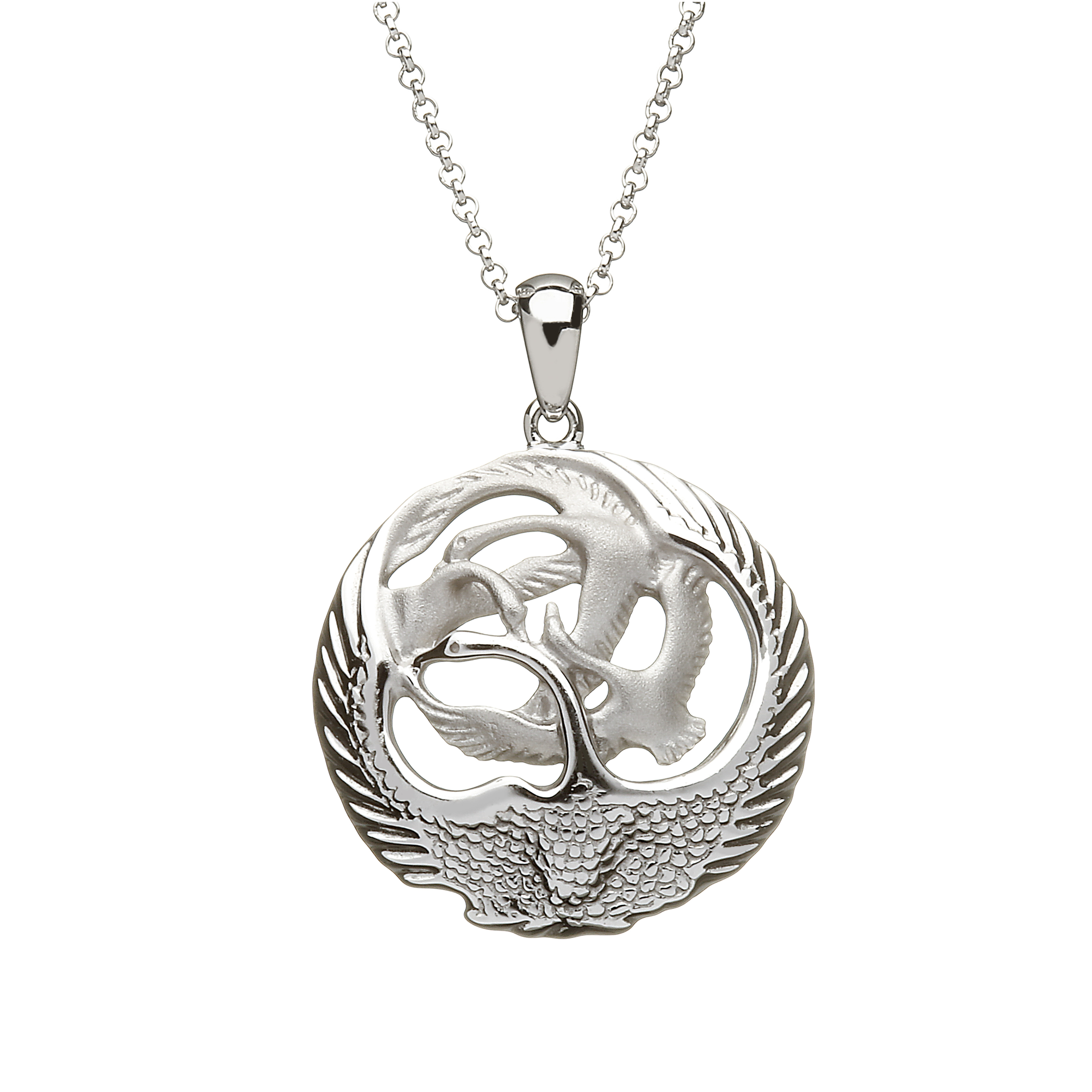 Sterling Silver Circular Sculpted Quot Children Of Lir Quot Swan