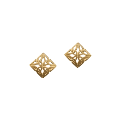 10ct Gold Square Trinity Knot Design Stud Earrings Celtic Designs Jewelry
