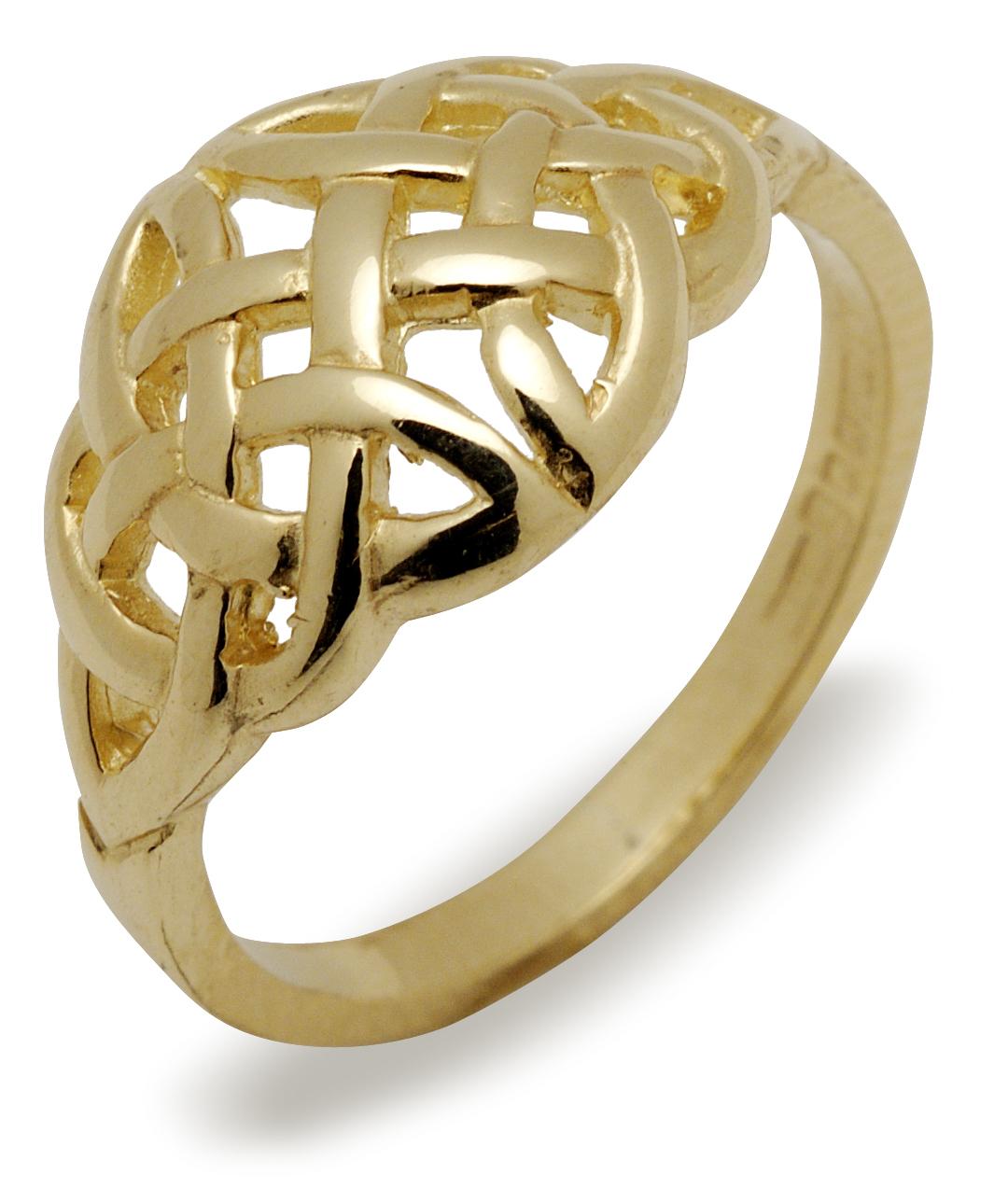 10ct yellow gold ladies domedium Celtic design design ring ...
