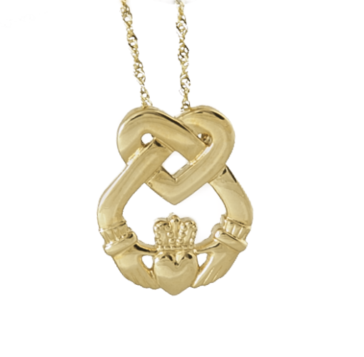 gold pendant silver main accent macy image diamond product sterling claddagh necklace shop fpx s and